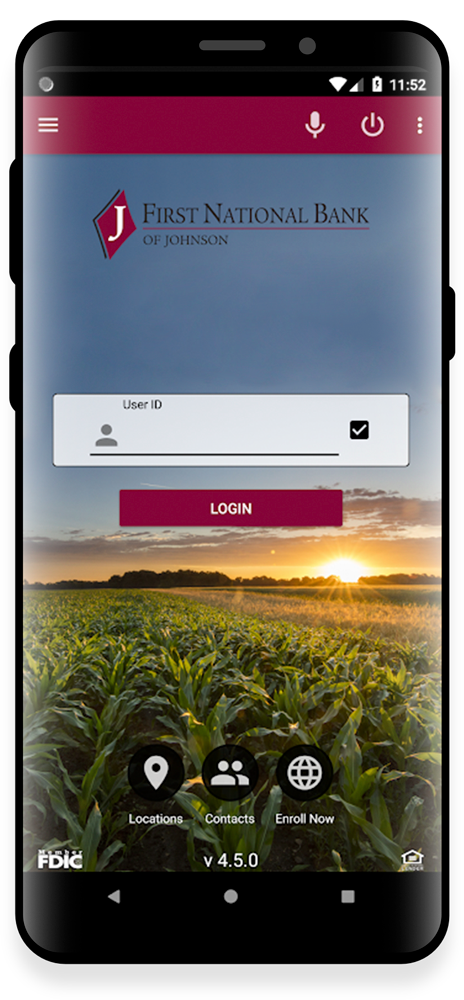 Smartphone with mobile banking app login screen